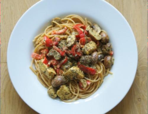 Pasta– kip – champignons – rode paprika