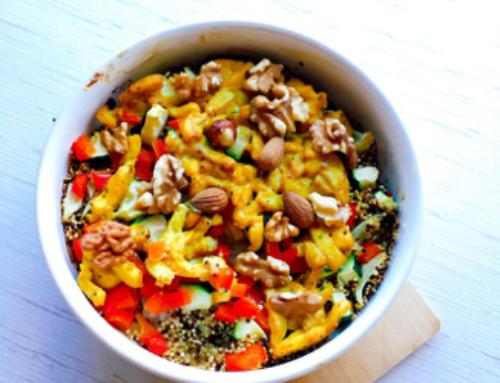 Quinoa ovenschotel met kip en noten